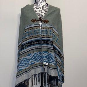 Woolrich Aztec designed poncho